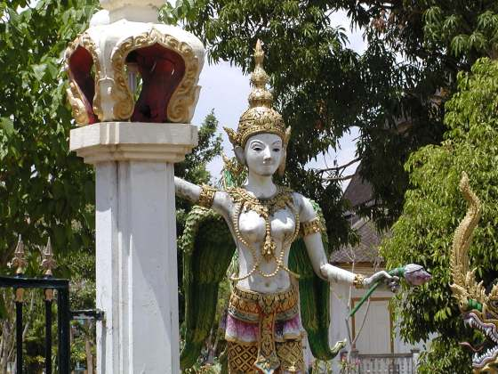 Statue at Main Entrance of Wat Choengthale, Phuket near Surin Beach